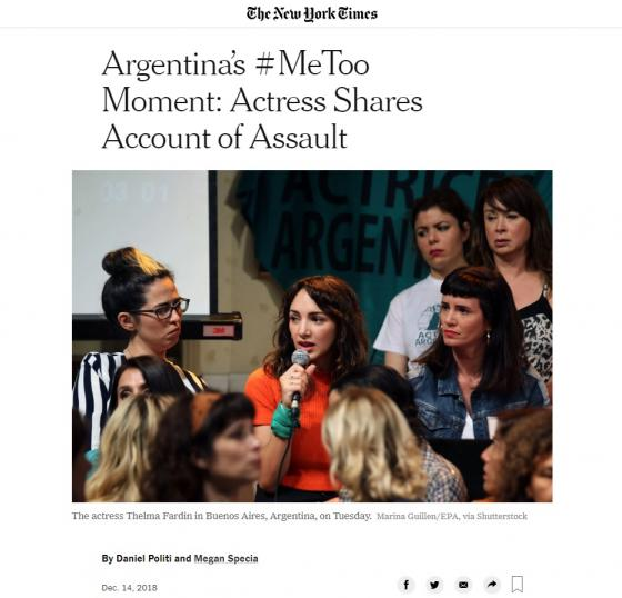 "New York Times Article 12-14-18: ""Argentina's #MeToo Moment"""